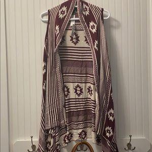 NWT Forever 21 Aztec Burgundy/Cream Vest